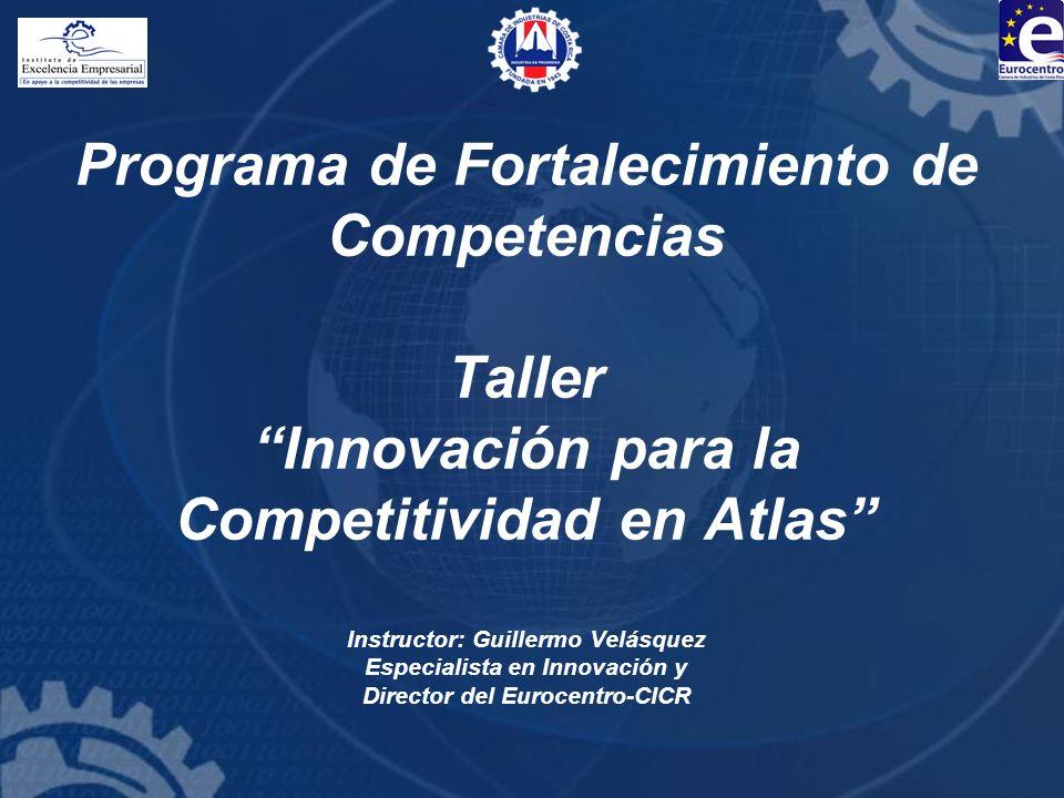 Programa de Fortalecimiento de Competencias Taller Innovación para la Competitividad en Atlas Instructor: Guillermo Velásquez Especialista en Innovación y Director del Eurocentro-CICR