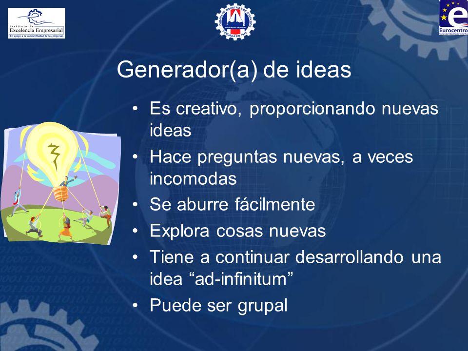 Generador(a) de ideas Es creativo, proporcionando nuevas ideas