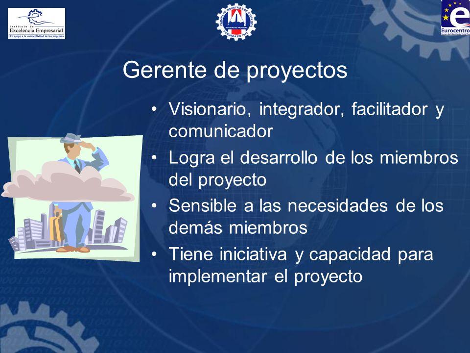 Gerente de proyectos Visionario, integrador, facilitador y comunicador