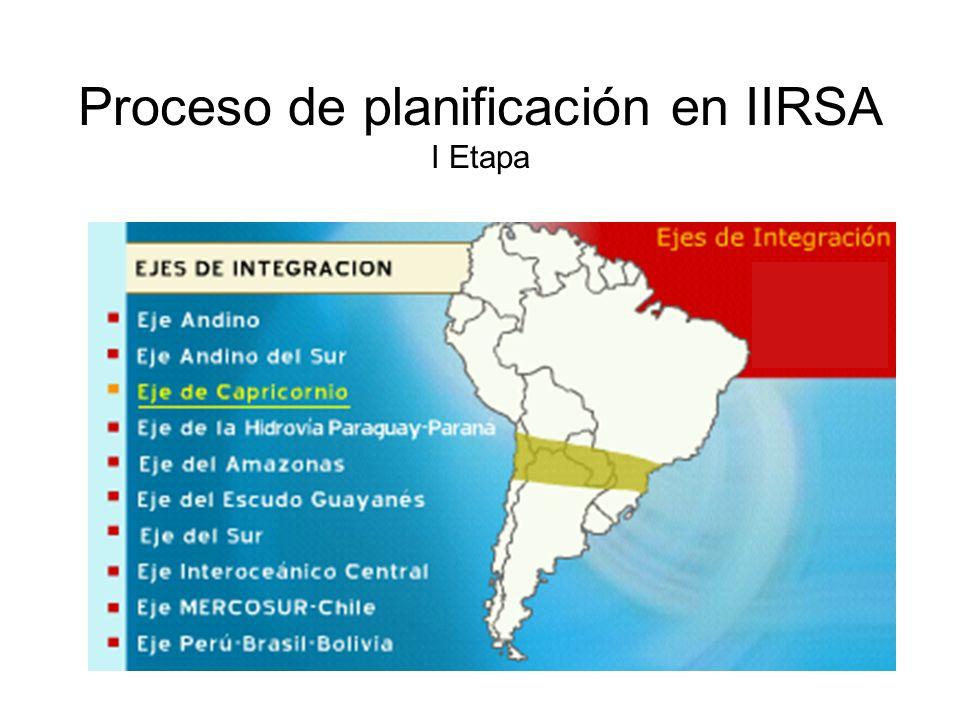 Proceso de planificación en IIRSA I Etapa