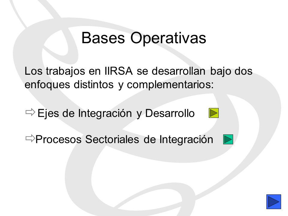 Bases Operativas Los trabajos en IIRSA se desarrollan bajo dos enfoques distintos y complementarios: