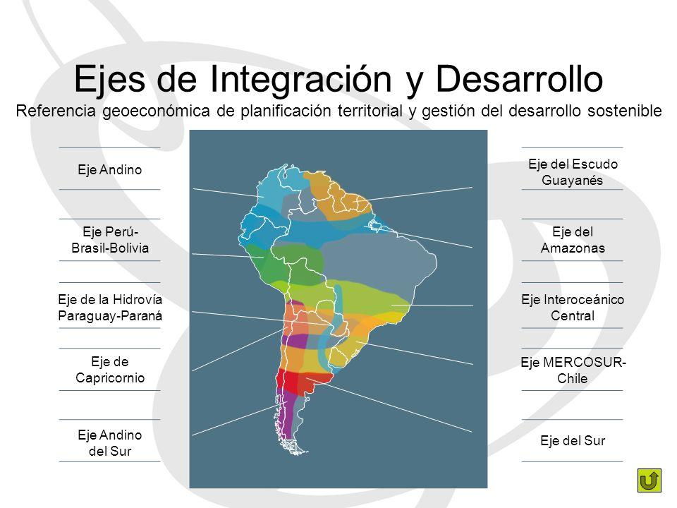 Ejes de Integración y Desarrollo Referencia geoeconómica de planificación territorial y gestión del desarrollo sostenible