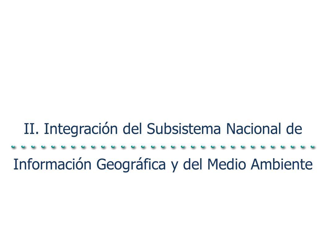 II. Integración del Subsistema Nacional de Información Geográfica y del Medio Ambiente