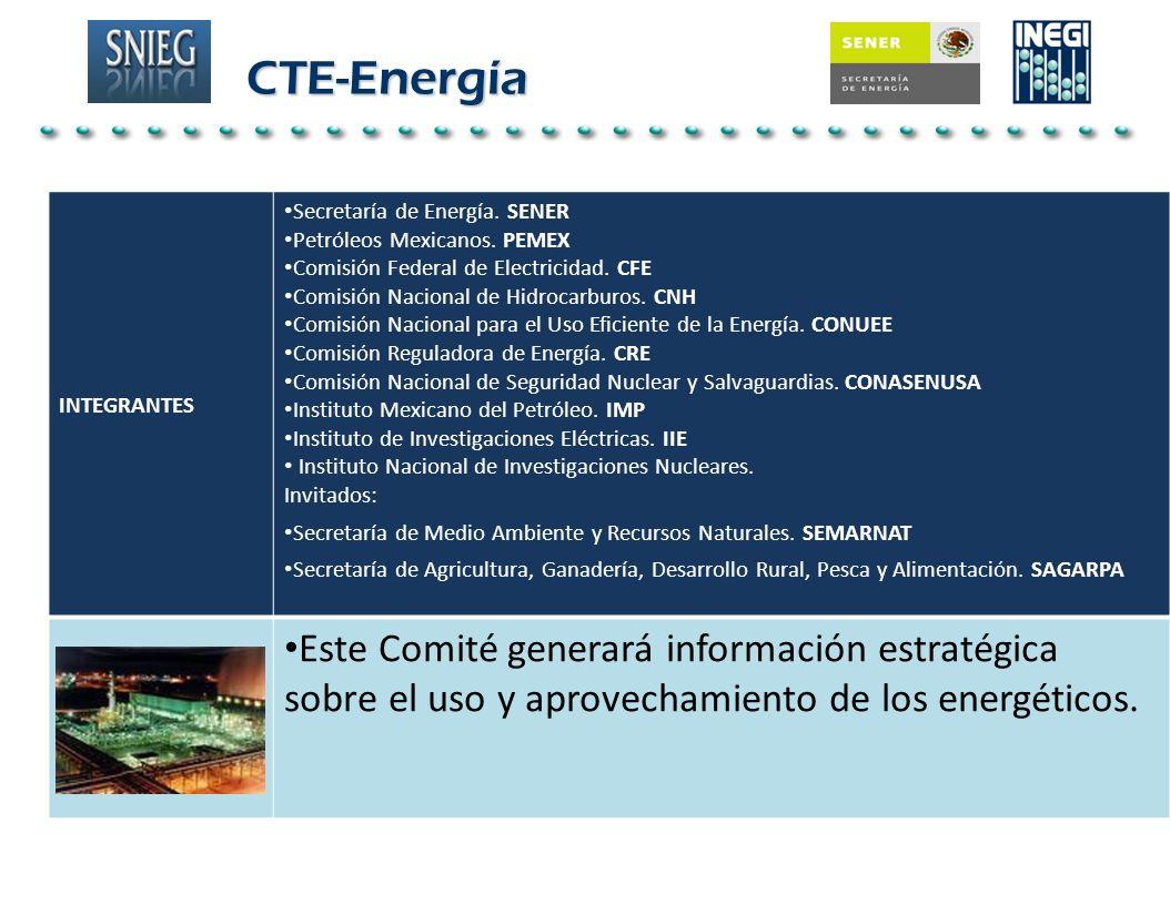 CTE-Energía INTEGRANTES. Secretaría de Energía. SENER. Petróleos Mexicanos. PEMEX. Comisión Federal de Electricidad. CFE.