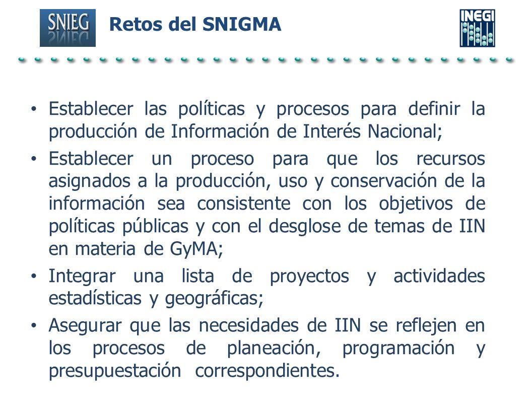Retos del SNIGMA Establecer las políticas y procesos para definir la producción de Información de Interés Nacional;