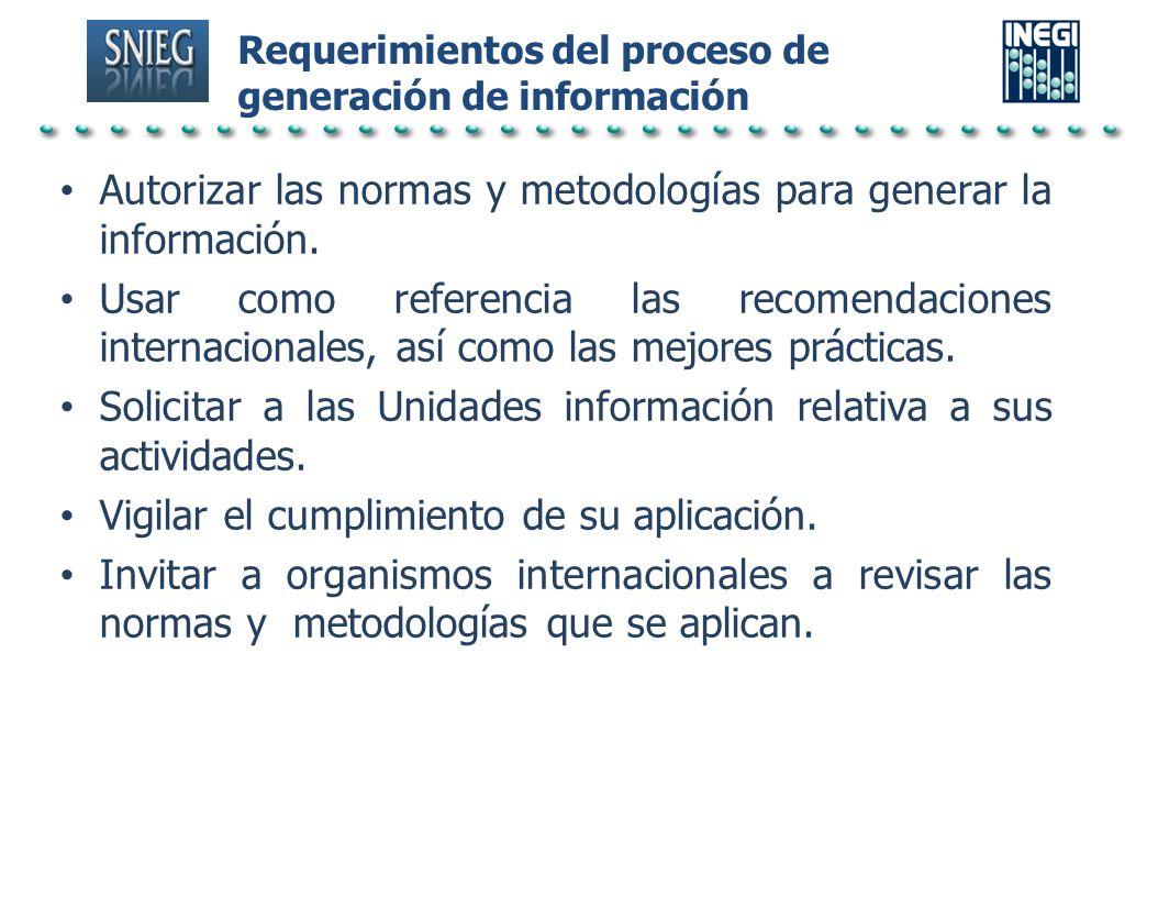 Requerimientos del proceso de generación de información