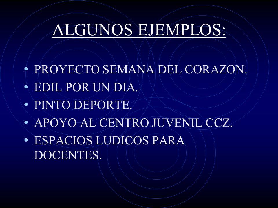 ALGUNOS EJEMPLOS: PROYECTO SEMANA DEL CORAZON. EDIL POR UN DIA.