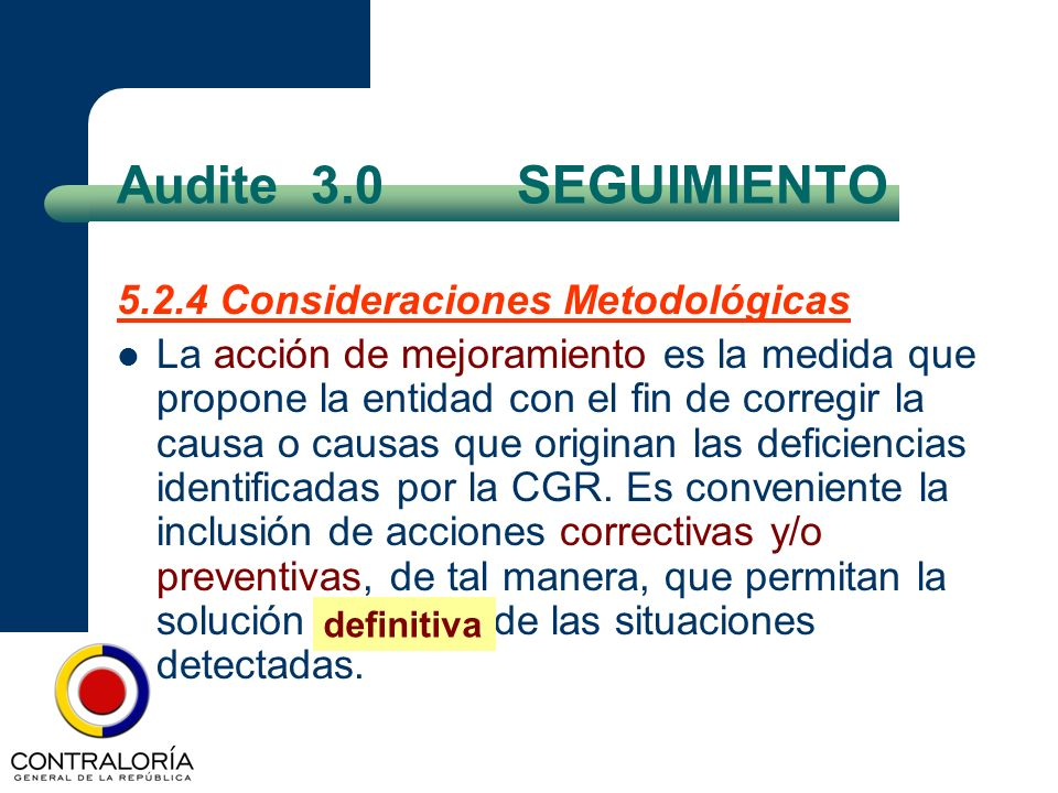 Audite 3.0 SEGUIMIENTO 5.2.4 Consideraciones Metodológicas