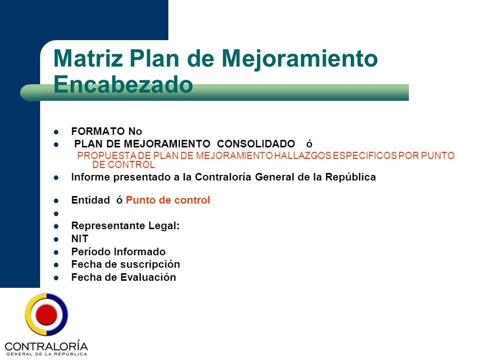 Matriz Plan de Mejoramiento Encabezado