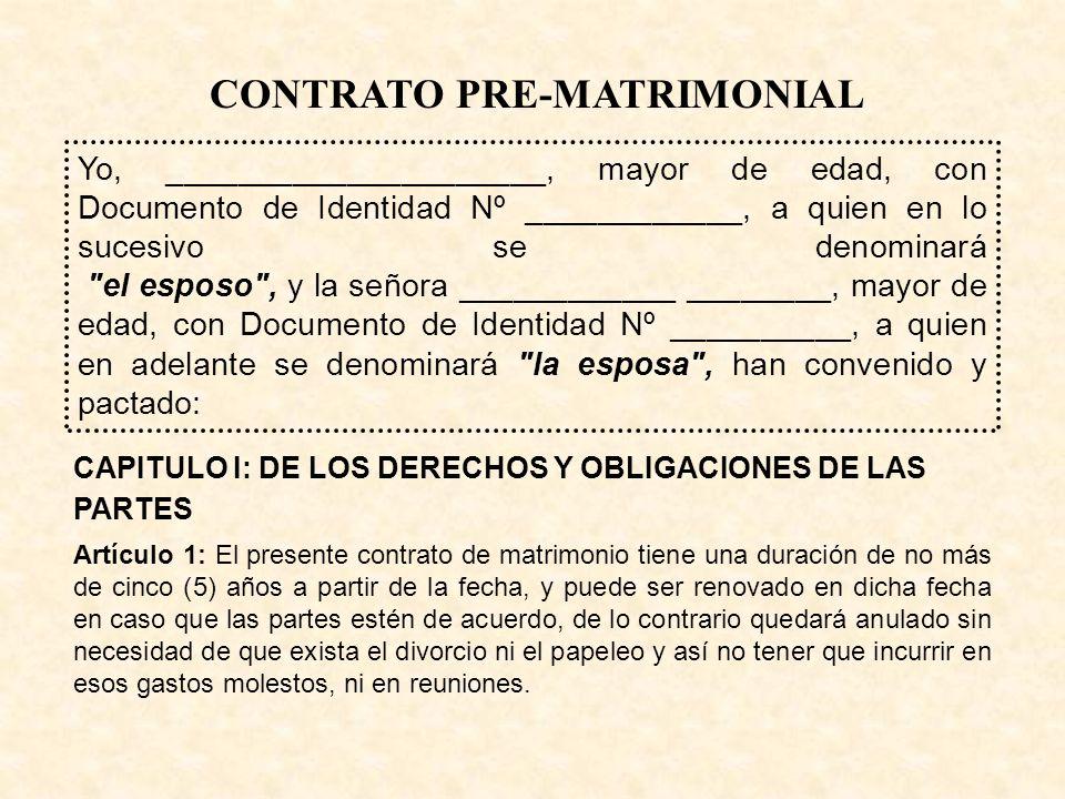 CONTRATO PRE-MATRIMONIAL