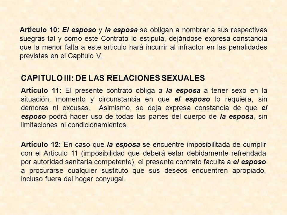 CAPITULO III: DE LAS RELACIONES SEXUALES