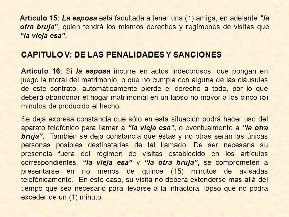 CAPITULO V: DE LAS PENALIDADES Y SANCIONES