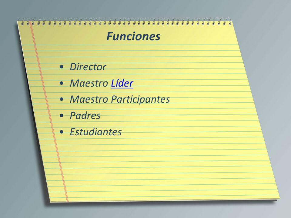 Funciones Director Maestro Líder Maestro Participantes Padres