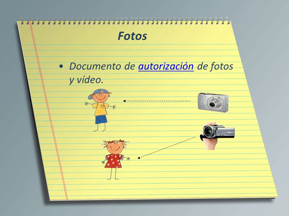 Fotos Documento de autorización de fotos y vídeo.