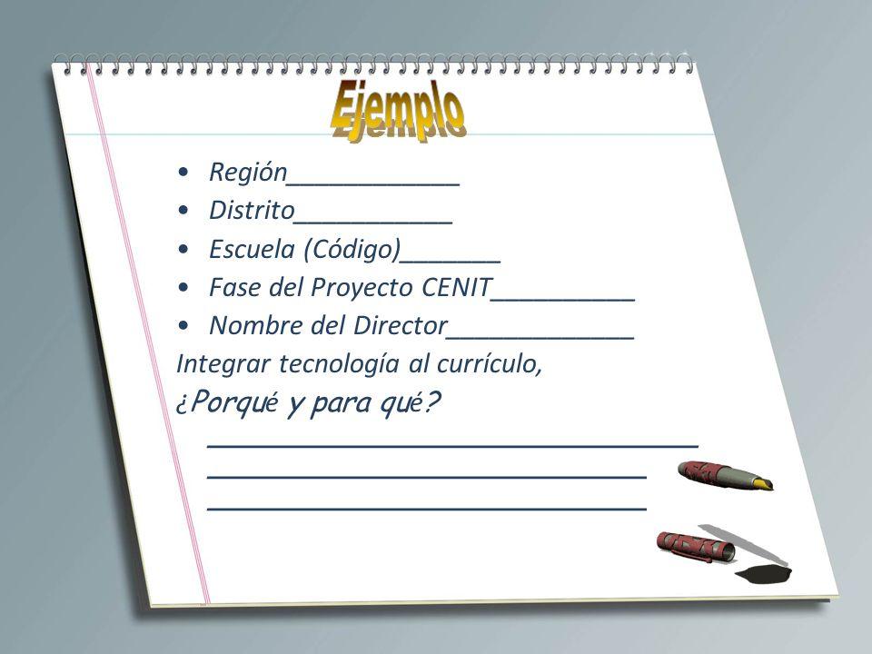 Ejemplo Región____________ Distrito___________ Escuela (Código)_______