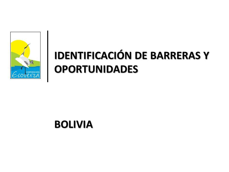IDENTIFICACIÓN DE BARRERAS Y OPORTUNIDADES BOLIVIA