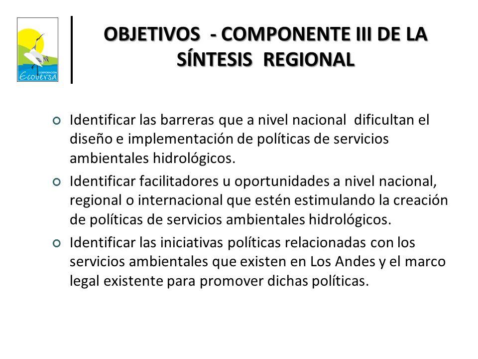 OBJETIVOS - COMPONENTE III DE LA SÍNTESIS REGIONAL
