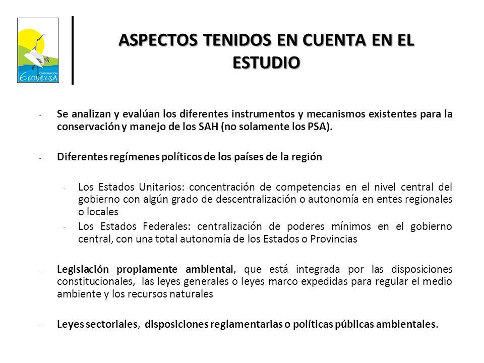 ASPECTOS TENIDOS EN CUENTA EN EL ESTUDIO