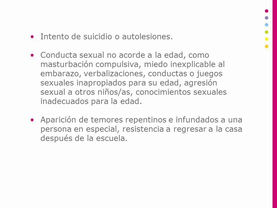 Intento de suicidio o autolesiones.