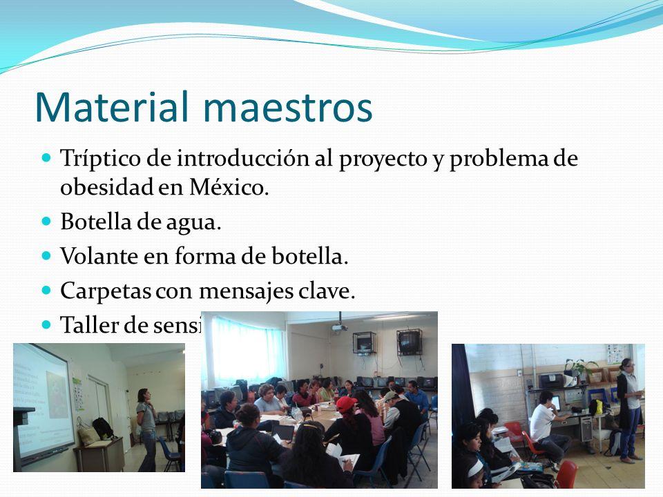 Material maestros Tríptico de introducción al proyecto y problema de obesidad en México. Botella de agua.