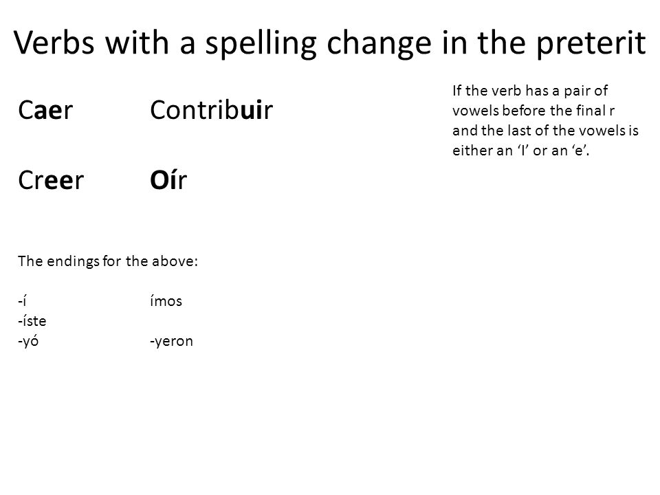 Verbs with a spelling change in the preterit