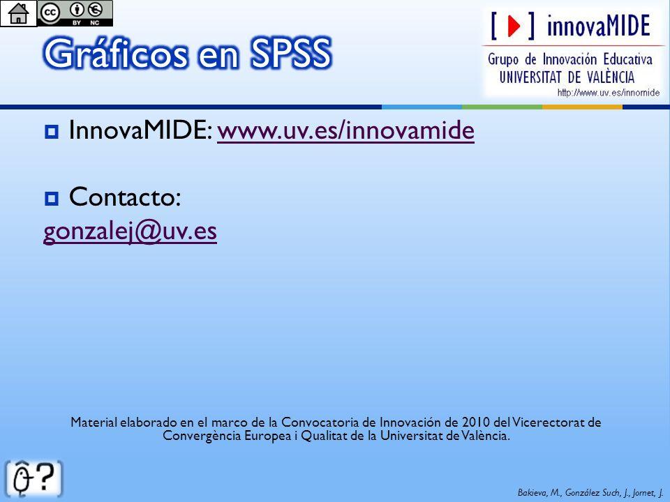Gráficos en SPSS InnovaMIDE: www.uv.es/innovamide Contacto: