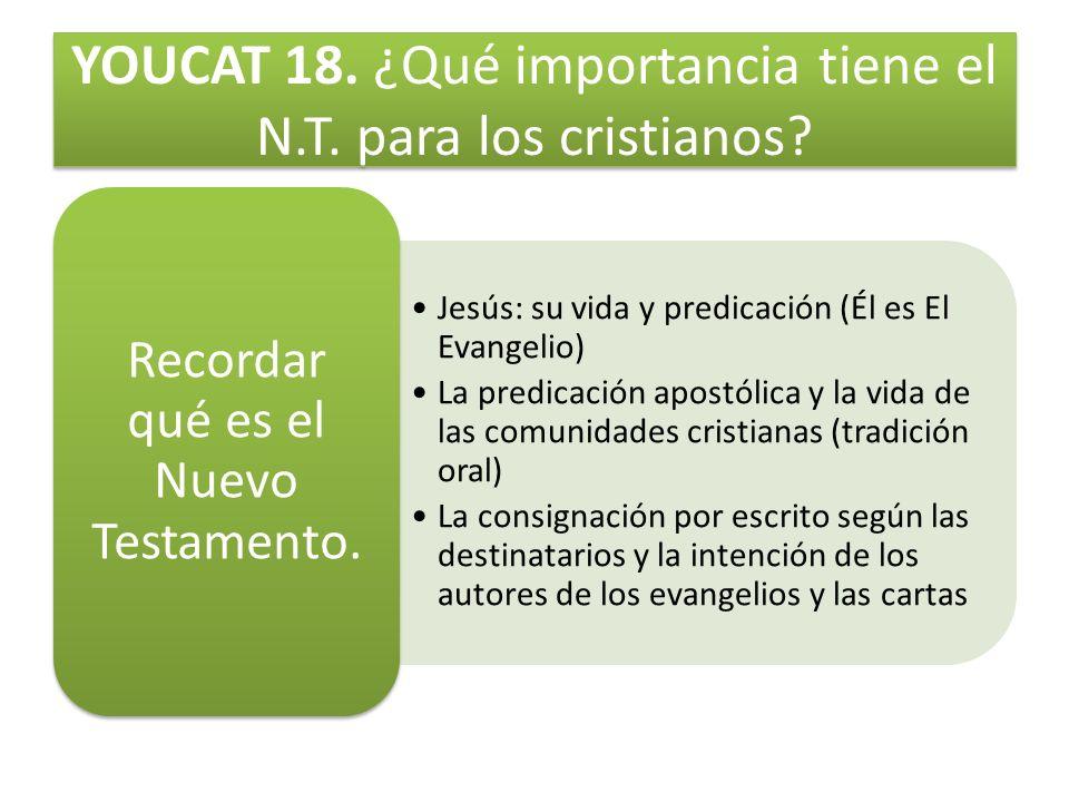 YOUCAT 18. ¿Qué importancia tiene el N.T. para los cristianos