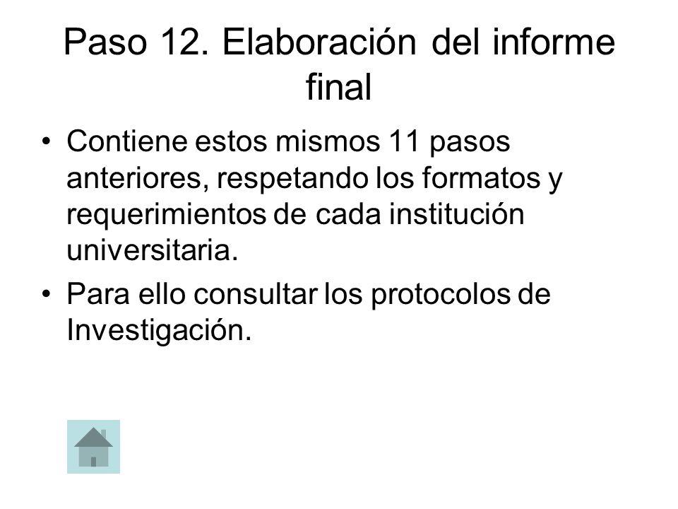 Paso 12. Elaboración del informe final