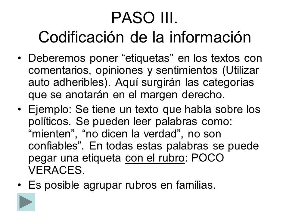 PASO III. Codificación de la información