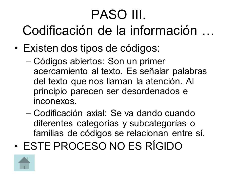 PASO III. Codificación de la información …