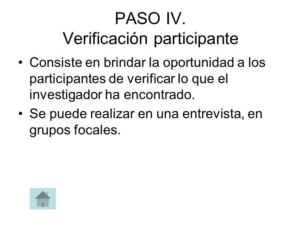 PASO IV. Verificación participante