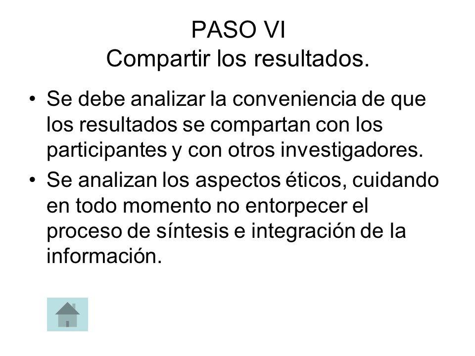 PASO VI Compartir los resultados.