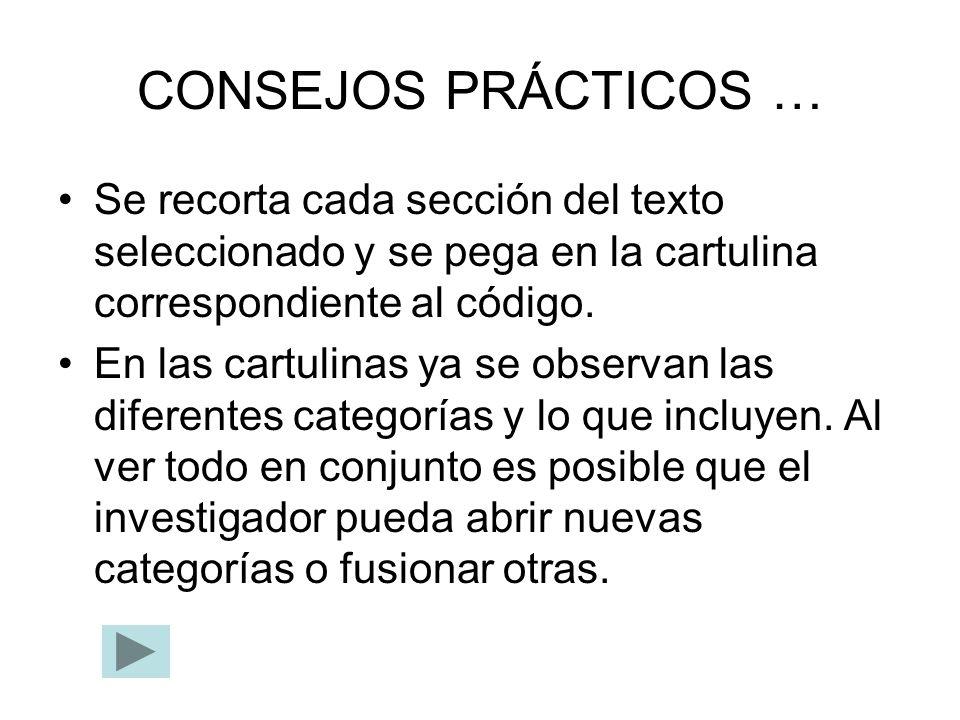 CONSEJOS PRÁCTICOS … Se recorta cada sección del texto seleccionado y se pega en la cartulina correspondiente al código.