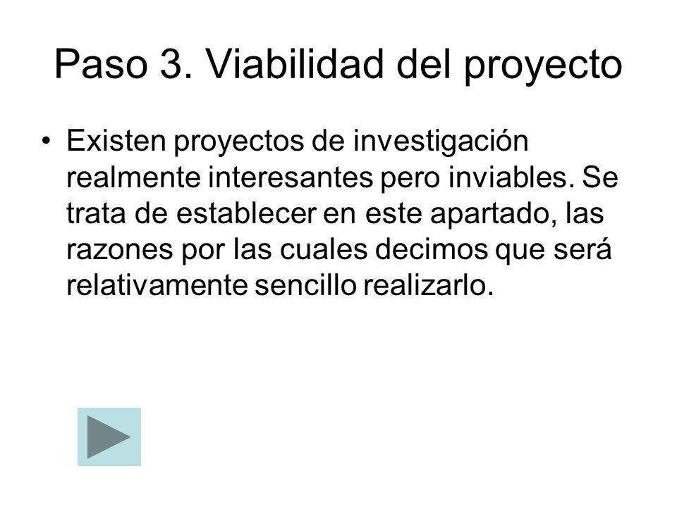 Paso 3. Viabilidad del proyecto