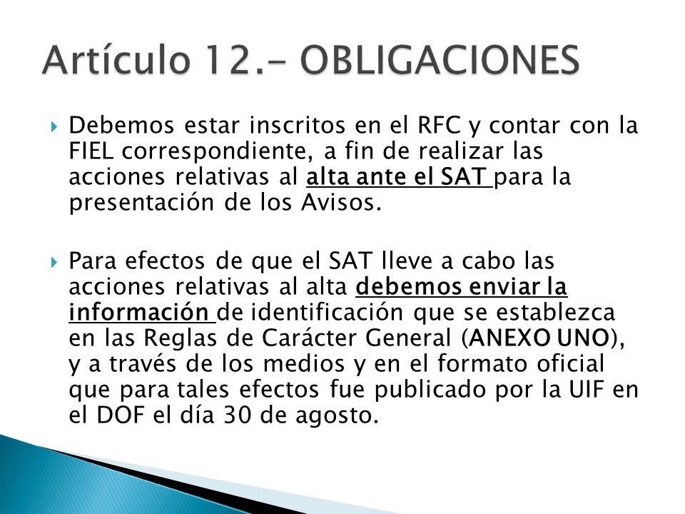 Artículo 12.- OBLIGACIONES