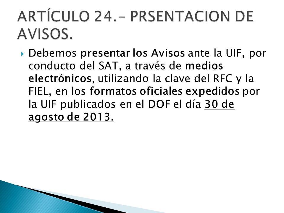 ARTÍCULO 24.- PRSENTACION DE AVISOS.