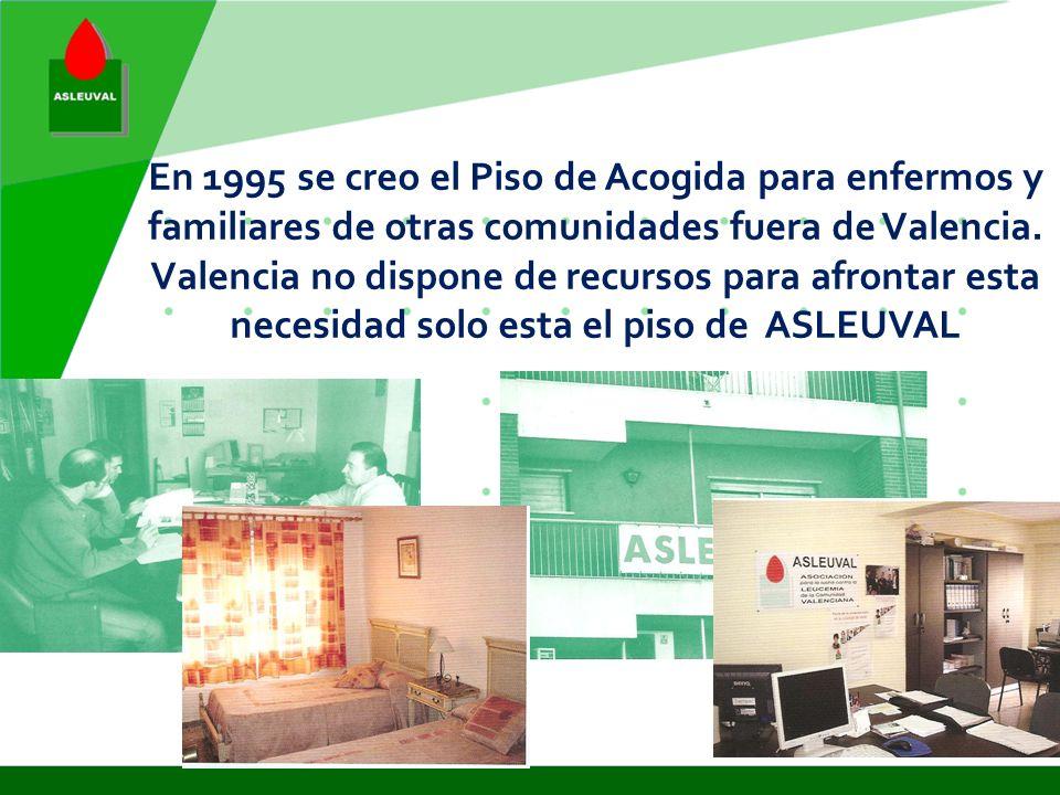 En 1995 se creo el Piso de Acogida para enfermos y familiares de otras comunidades fuera de Valencia.