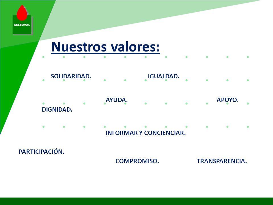 Nuestros valores: SOLIDARIDAD. IGUALDAD. AYUDA. APOYO. DIGNIDAD.