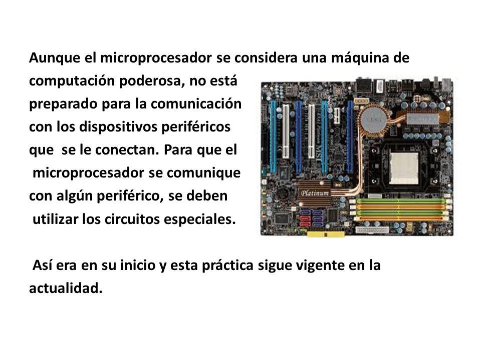 Aunque el microprocesador se considera una máquina de computación poderosa, no está preparado para la comunicación con los dispositivos periféricos que se le conectan.
