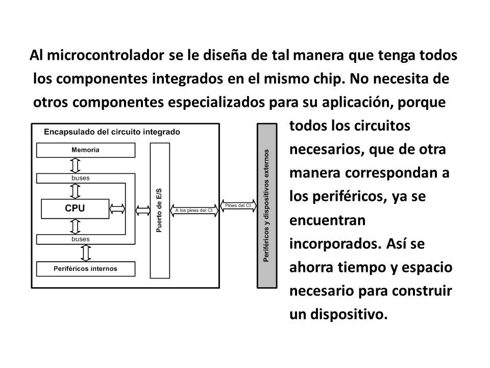 Al microcontrolador se le diseña de tal manera que tenga todos los componentes integrados en el mismo chip.