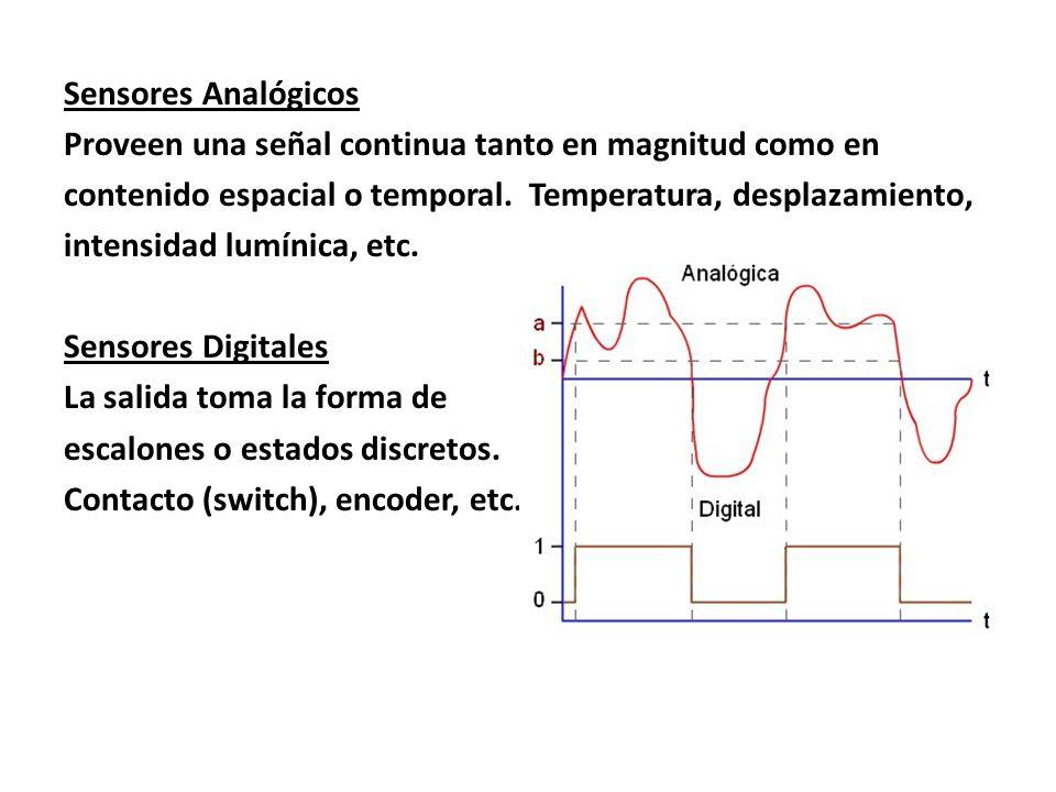Sensores Analógicos Proveen una señal continua tanto en magnitud como en contenido espacial o temporal.