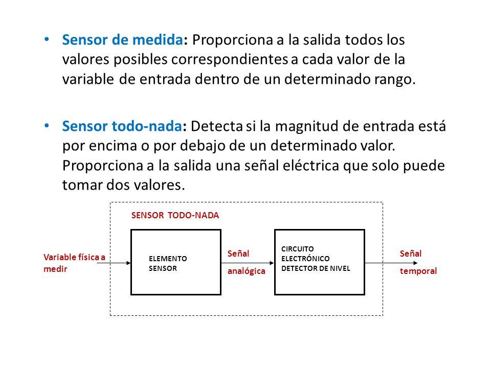 Sensor de medida: Proporciona a la salida todos los valores posibles correspondientes a cada valor de la variable de entrada dentro de un determinado rango.