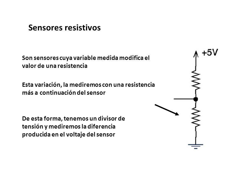 Sensores resistivos Son sensores cuya variable medida modifica el valor de una resistencia.