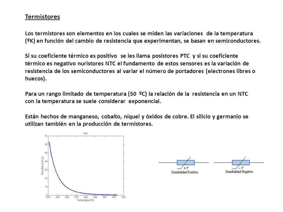 Termistores Los termistores son elementos en los cuales se miden las variaciones de la temperatura.