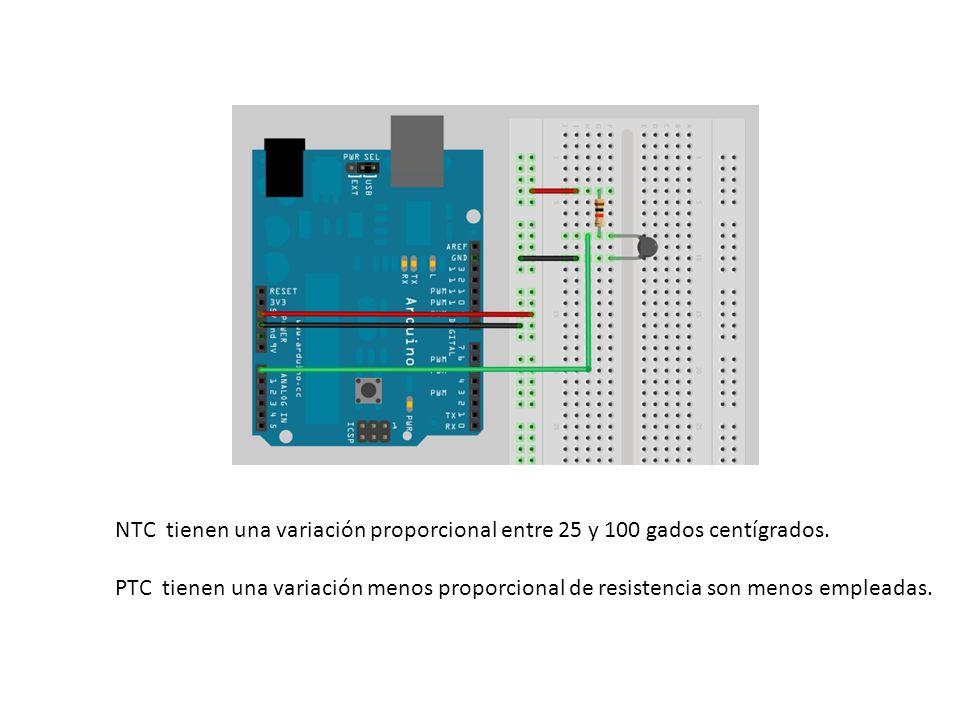 NTC tienen una variación proporcional entre 25 y 100 gados centígrados.