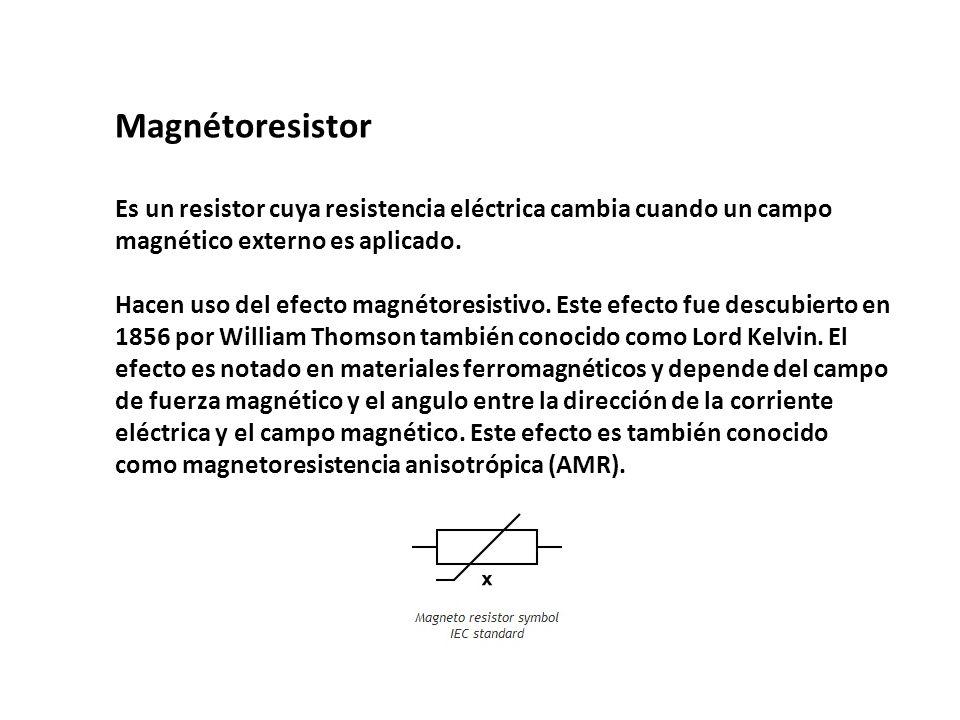 Magnétoresistor Es un resistor cuya resistencia eléctrica cambia cuando un campo magnético externo es aplicado.