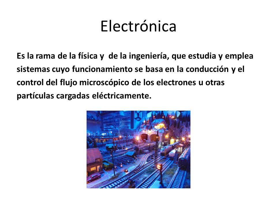 Electrónica Es la rama de la física y de la ingeniería, que estudia y emplea. sistemas cuyo funcionamiento se basa en la conducción y el.
