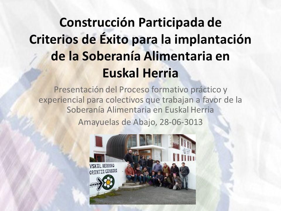Construcción Participada de Criterios de Éxito para la implantación de la Soberanía Alimentaria en Euskal Herria