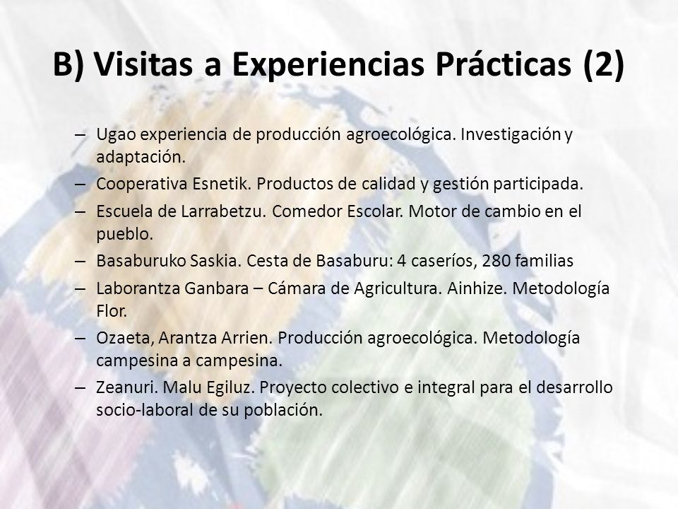 B) Visitas a Experiencias Prácticas (2)