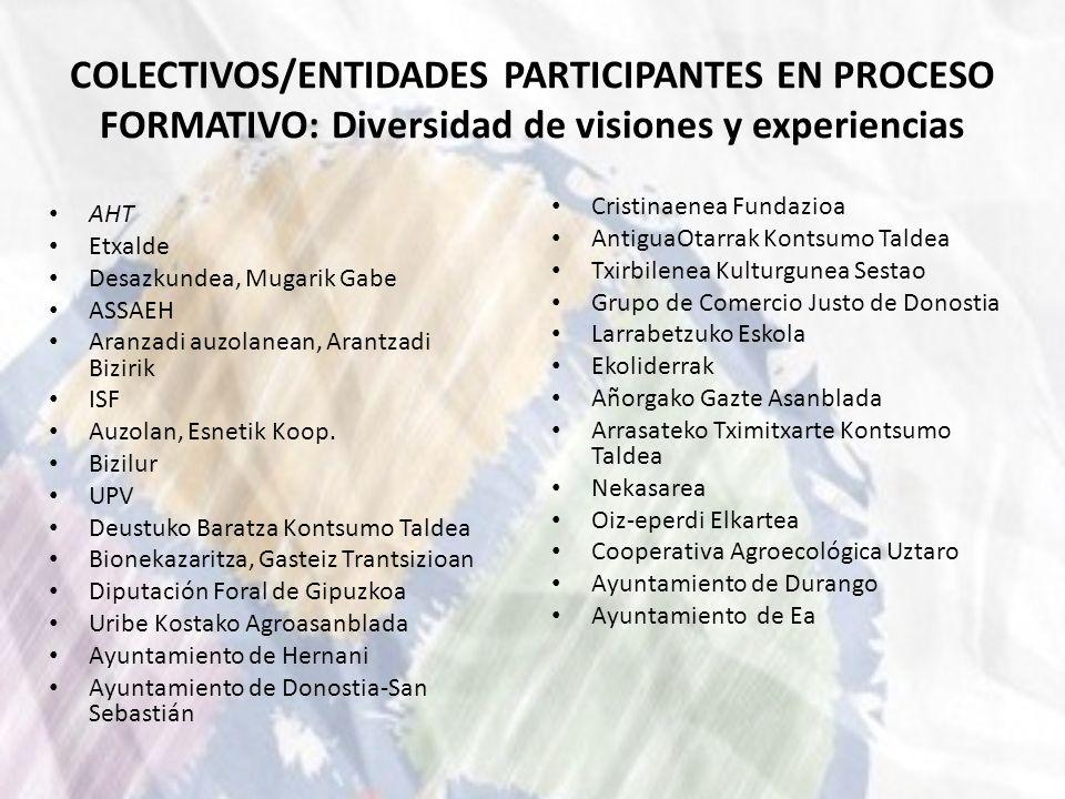 COLECTIVOS/ENTIDADES PARTICIPANTES EN PROCESO FORMATIVO: Diversidad de visiones y experiencias